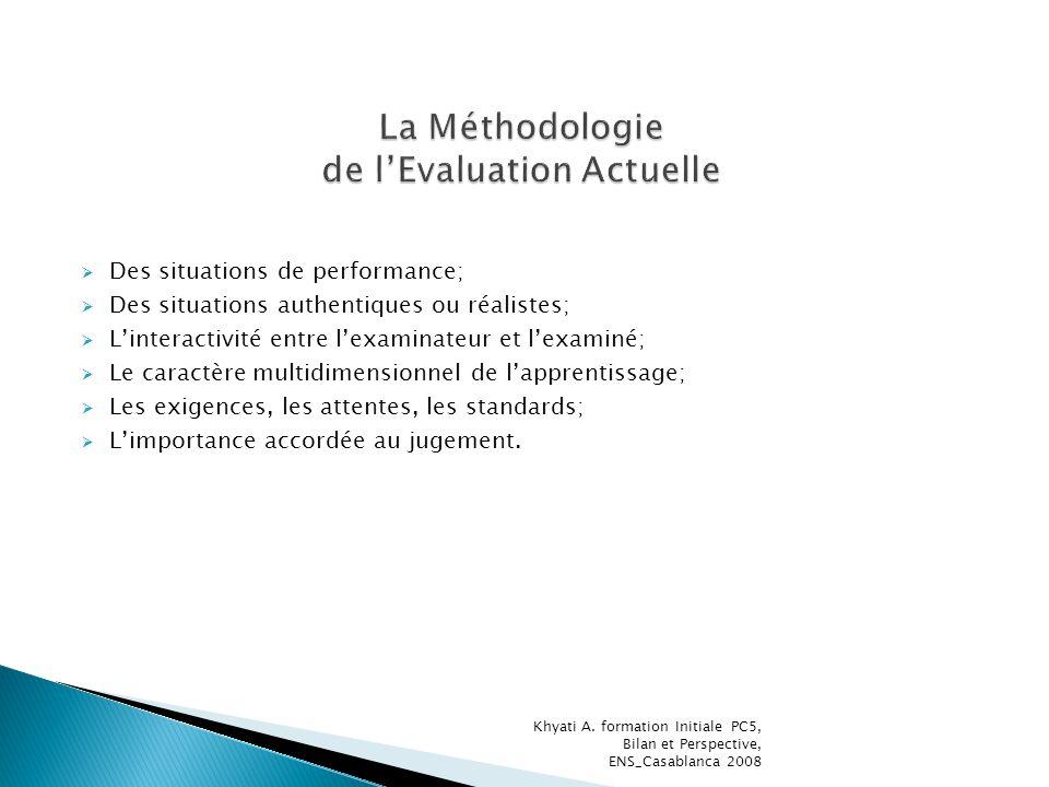 Des situations de performance; Des situations authentiques ou réalistes; Linteractivité entre lexaminateur et lexaminé; Le caractère multidimensionnel