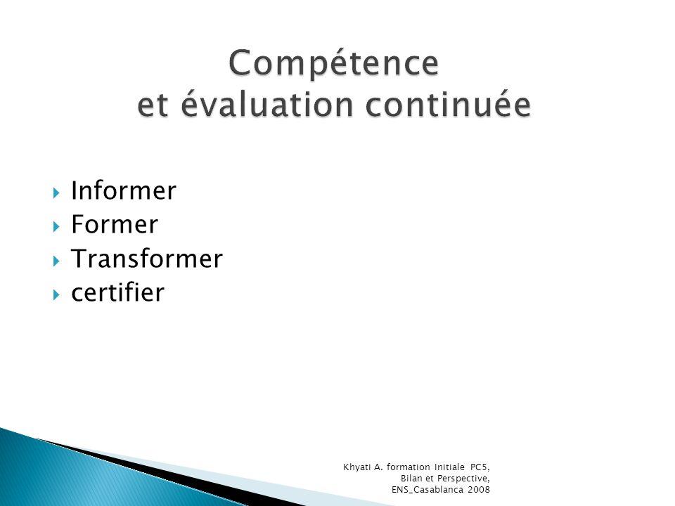 Informer Former Transformer certifier Khyati A. formation Initiale PC5, Bilan et Perspective, ENS_Casablanca 2008