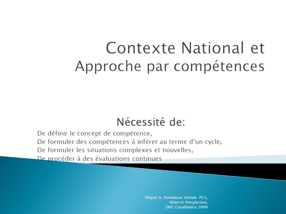 Nécessité de: De définir le concept de compétence, De formuler des compétences à inférer au terme dun cycle, De formuler les situations complexes et n