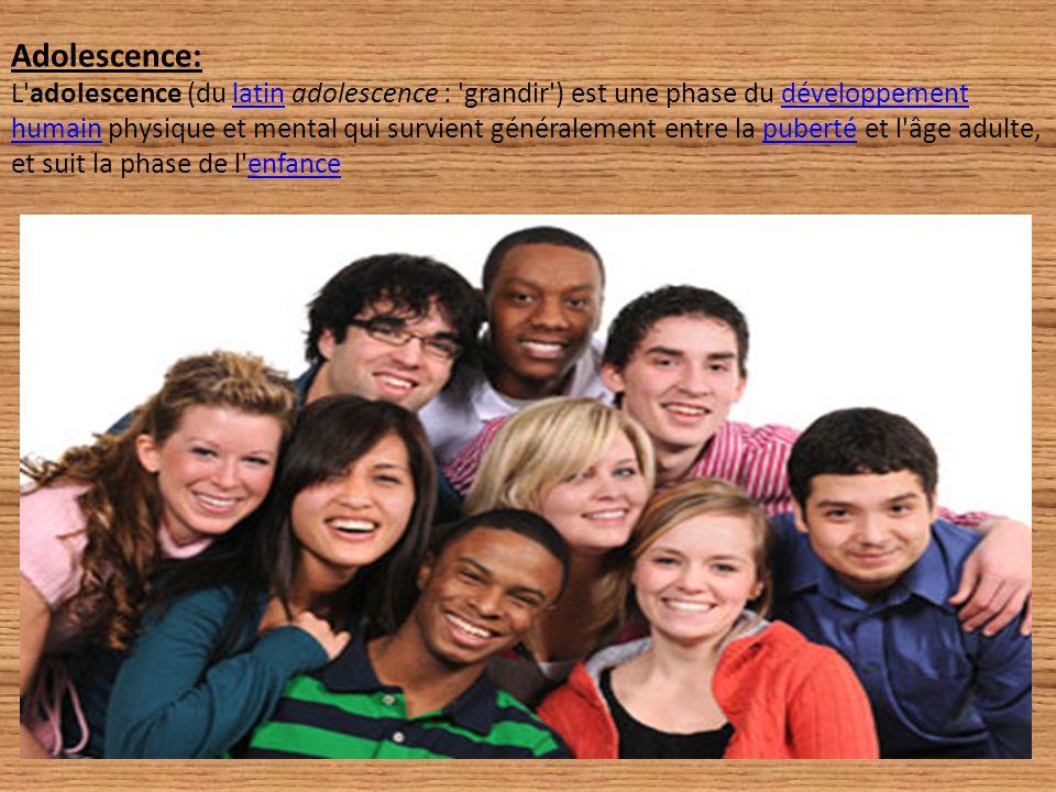Adolescence: L'adolescence (du latin adolescence : 'grandir') est une phase du développement humain physique et mental qui survient généralement entre