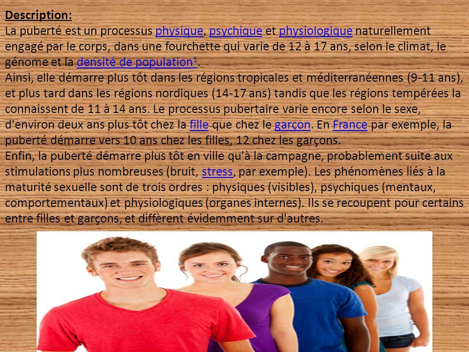 Description: La puberté est un processus physique, psychique et physiologique naturellement engagé par le corps, dans une fourchette qui varie de 12 à