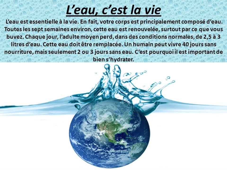 Leau, cest la vie Leau est essentielle à la vie. En fait, votre corps est principalement composé deau. Toutes les sept semaines environ, cette eau est