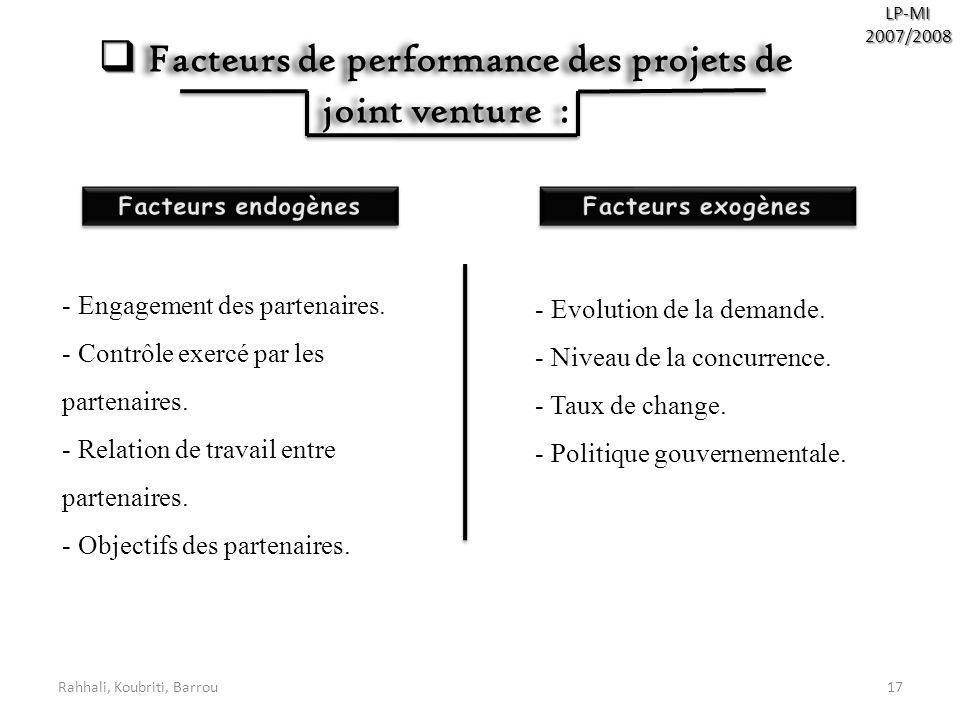 Rahhali, Koubriti, Barrou17 LP-MI2007/2008 Facteurs de performance des projets de joint venture : Facteurs de performance des projets de joint venture