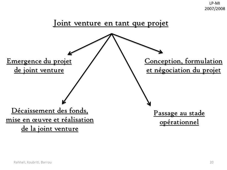 Rahhali, Koubriti, Barrou20 LP-MI2007/2008 Joint venture en tant que projet Emergence du projet de joint venture Conception, formulation et négociatio