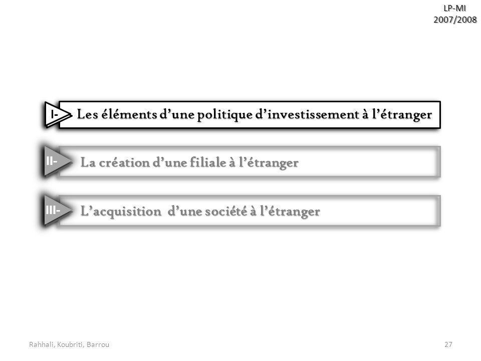 Rahhali, Koubriti, Barrou27LP-MI2007/2008 Les éléments dune politique dinvestissement à létranger Les éléments dune politique dinvestissement à létran