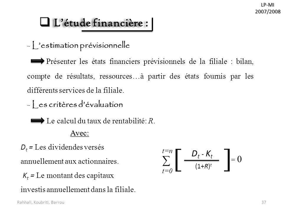 Rahhali, Koubriti, Barrou37 LP-MI2007/2008 Létude financière : Létude financière : - Lestimation prévisionnelle Présenter les états financiers prévisi