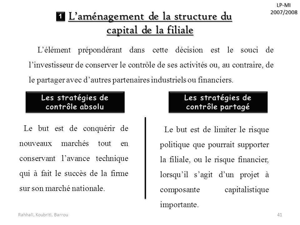 Rahhali, Koubriti, Barrou41 LP-MI2007/2008 Laménagement de la structure du capital de la filiale Lélément prépondérant dans cette décision est le souc