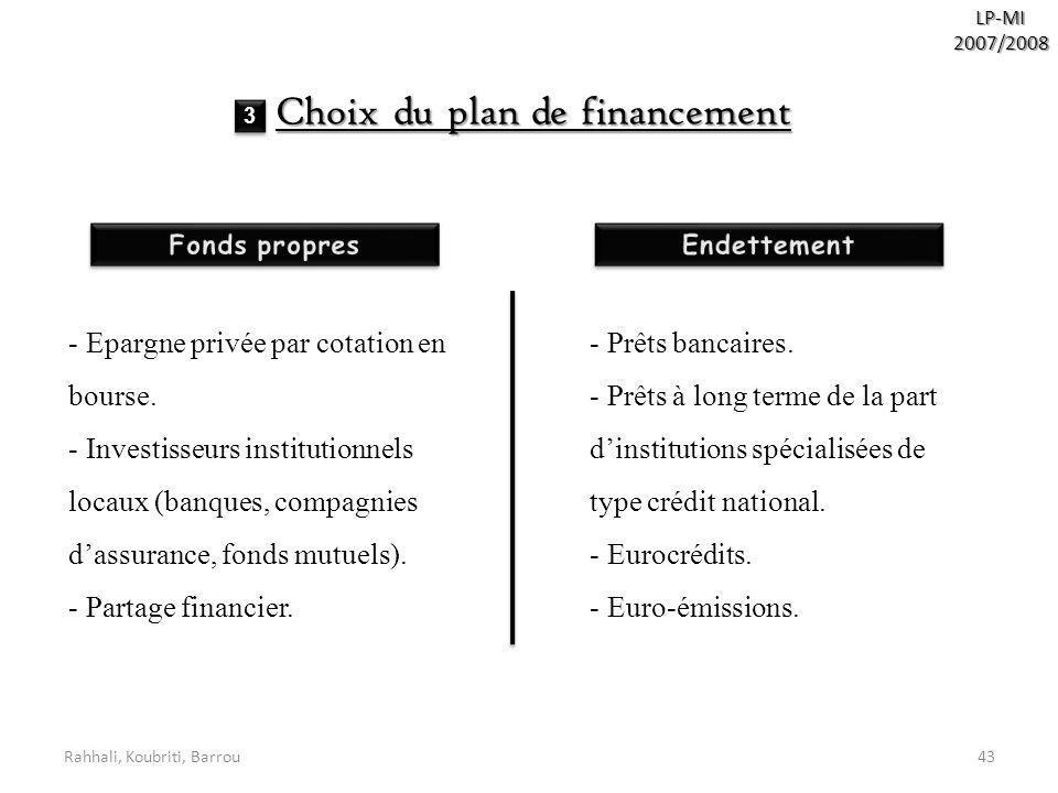 Rahhali, Koubriti, Barrou43 LP-MI2007/2008 Choix du plan de financement - Epargne privée par cotation en bourse. - Investisseurs institutionnels locau