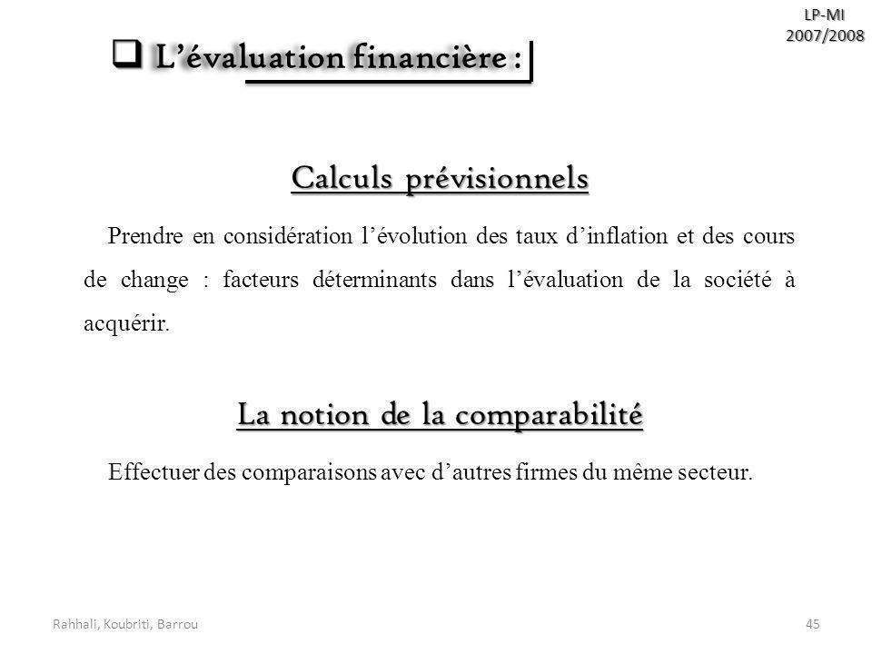 Rahhali, Koubriti, Barrou45 LP-MI2007/2008 Lévaluation financière : Lévaluation financière : Calculs prévisionnels Prendre en considération lévolution