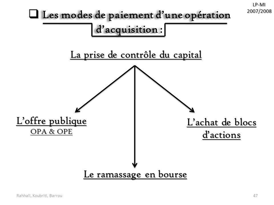 Rahhali, Koubriti, Barrou47 Les modes de paiement dune opération dacquisition : Les modes de paiement dune opération dacquisition : La prise de contrô