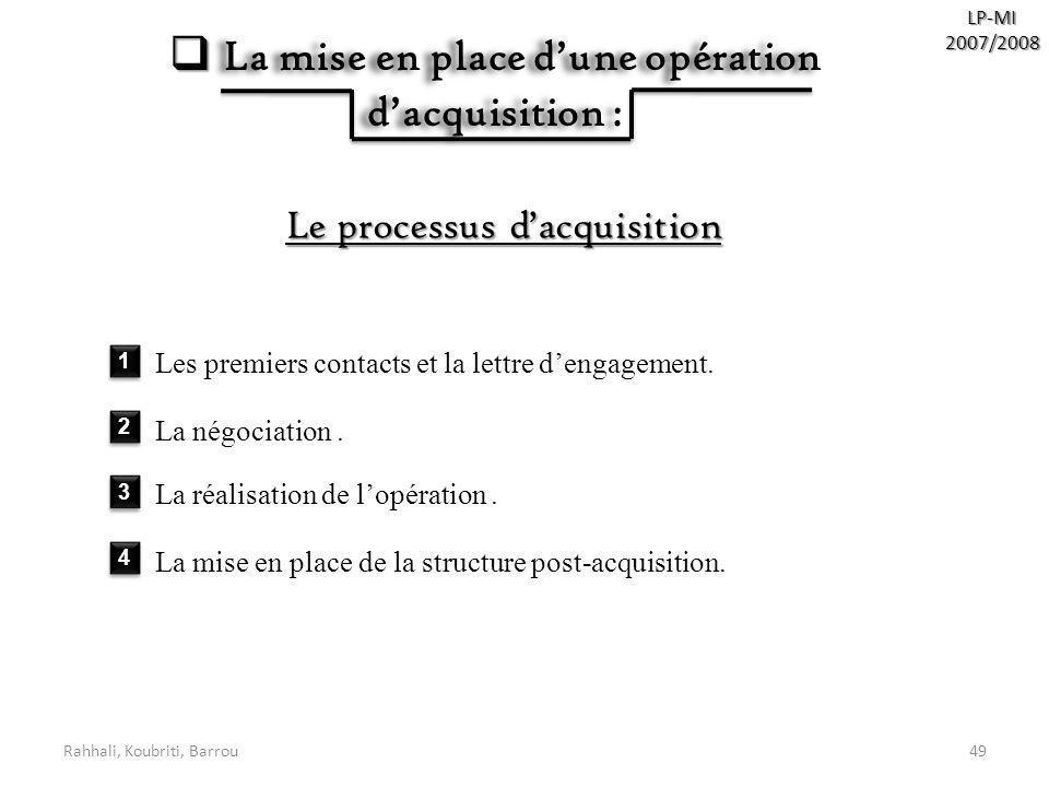 Rahhali, Koubriti, Barrou49 LP-MI2007/2008 La mise en place dune opération dacquisition : La mise en place dune opération dacquisition : Le processus