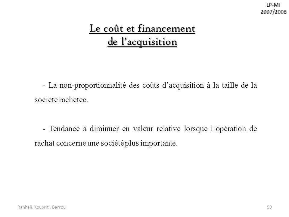Rahhali, Koubriti, Barrou50 LP-MI2007/2008 Le coût et financement de lacquisition - La non-proportionnalité des coûts dacquisition à la taille de la s