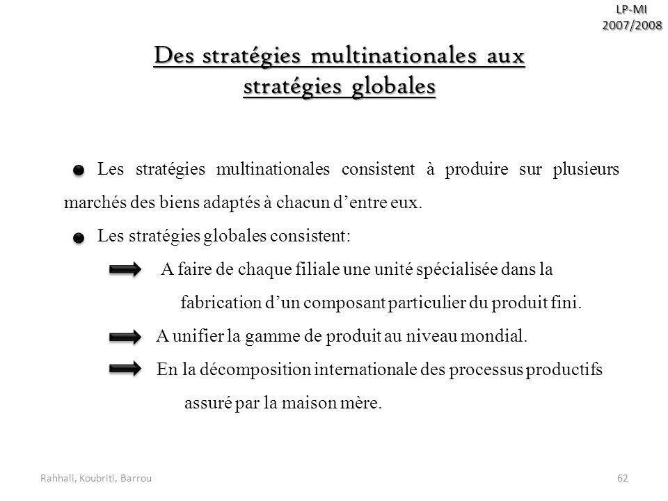 Rahhali, Koubriti, Barrou62 LP-MI2007/2008 Des stratégies multinationales aux stratégies globales Les stratégies multinationales consistent à produire