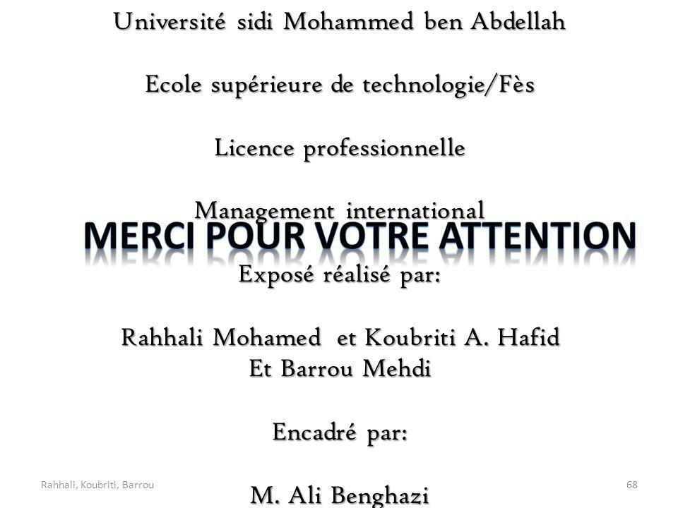 Rahhali, Koubriti, Barrou68 Université sidi Mohammed ben Abdellah Ecole supérieure de technologie/Fès Licence professionnelle Management international