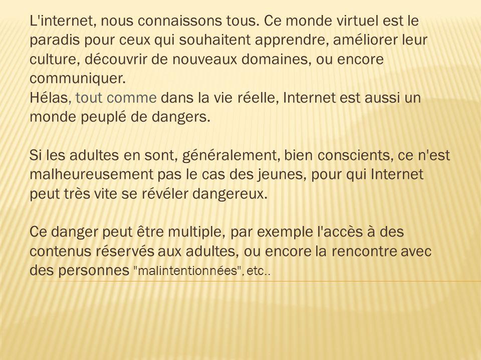 L'internet, nous connaissons tous. Ce monde virtuel est le paradis pour ceux qui souhaitent apprendre, améliorer leur culture, découvrir de nouveaux d