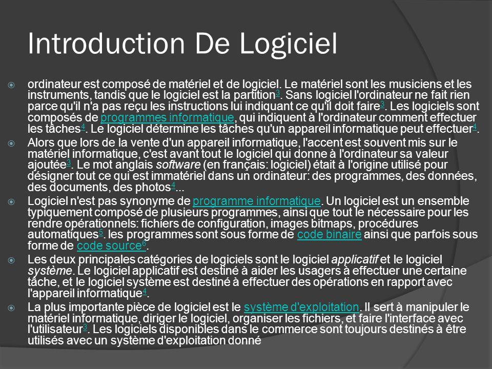 Introduction De Logiciel ordinateur est composé de matériel et de logiciel. Le matériel sont les musiciens et les instruments, tandis que le logiciel