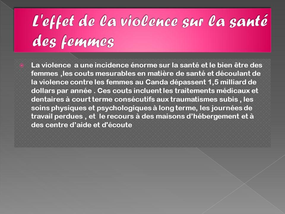 La violence a une incidence énorme sur la santé et le bien être des femmes,les couts mesurables en matière de santé et découlant de la violence contre les femmes au Canda dépassent 1,5 milliard de dollars par année.
