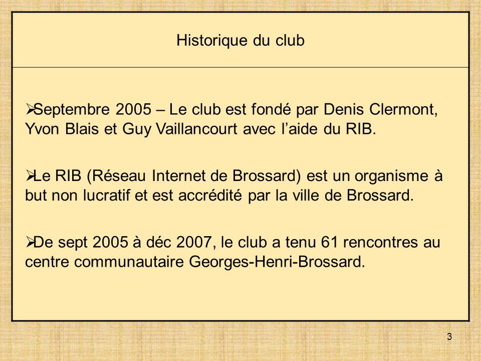 3 Historique du club Septembre 2005 – Le club est fondé par Denis Clermont, Yvon Blais et Guy Vaillancourt avec laide du RIB. Le RIB (Réseau Internet