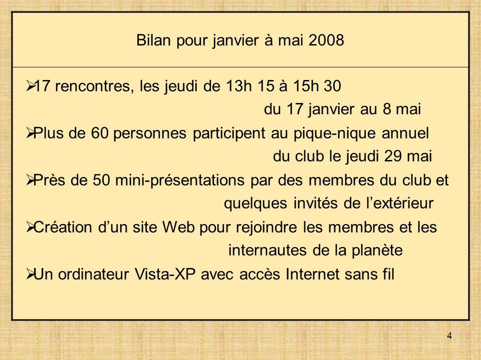4 Bilan pour janvier à mai 2008 17 rencontres, les jeudi de 13h 15 à 15h 30 du 17 janvier au 8 mai Plus de 60 personnes participent au pique-nique ann