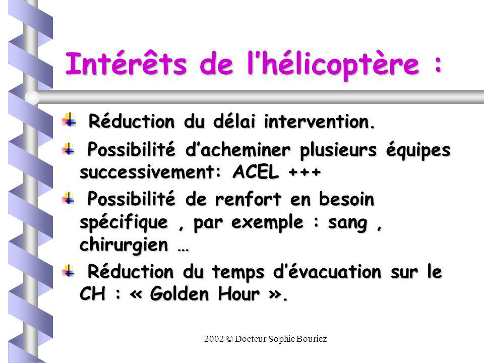 2002 © Docteur Sophie Bouriez Intérêts de lhélicoptère : Prise en charge des traumatisé médullaire +++ Diminution du risque dembolie graisseuse dans la grosse traumatologie.