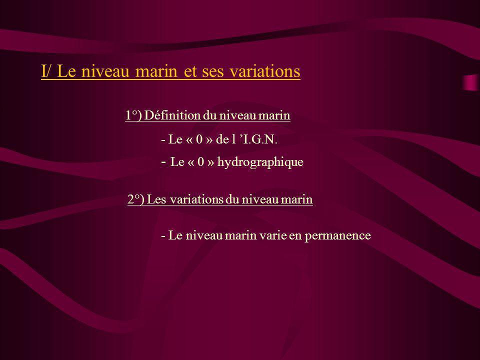I/ Le niveau marin et ses variations 1°) Définition du niveau marin 2°) Les variations du niveau marin - Le « 0 » hydrographique - Le « 0 » de l I.G.N.