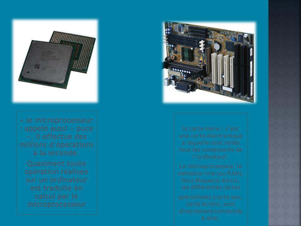 la carte mère : cest une carte électronique à laquelle sont reliés tous les composants de lordinateur. Le microprocesseur, le mémoire vive (ou RAM), l