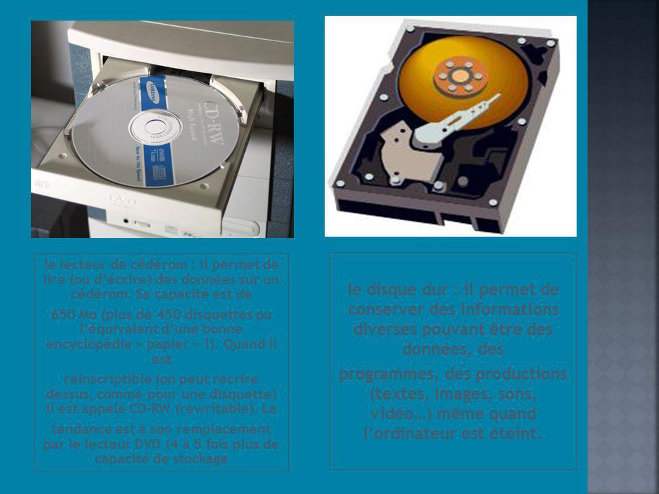 le lecteur de cédérom : il permet de lire (ou décrire) des données sur un cédérom. Sa capacité est de 650 Mo (plus de 450 disquettes ou léquivalent du