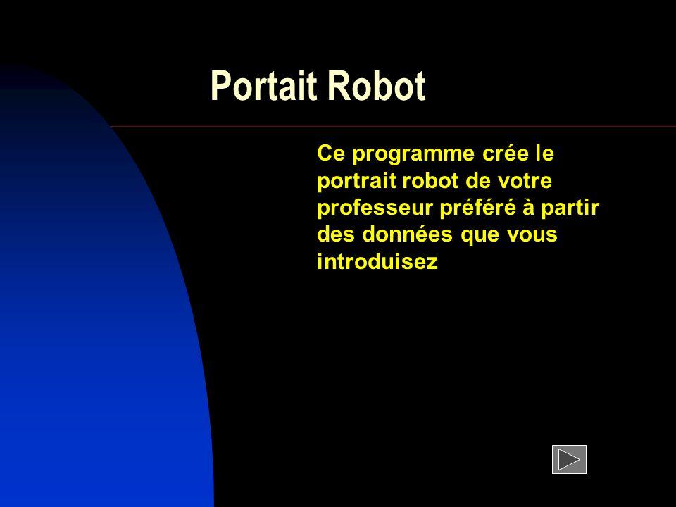 Portait Robot Ce programme crée le portrait robot de votre professeur préféré à partir des données que vous introduisez