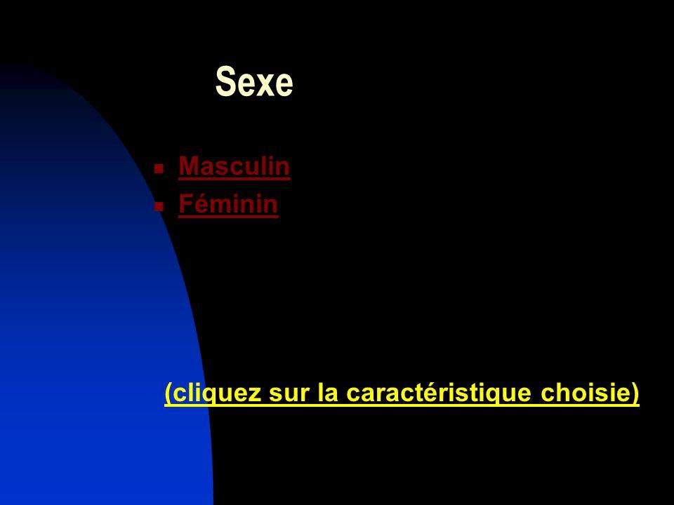 Sexe Masculin Féminin (cliquez sur la caractéristique choisie)