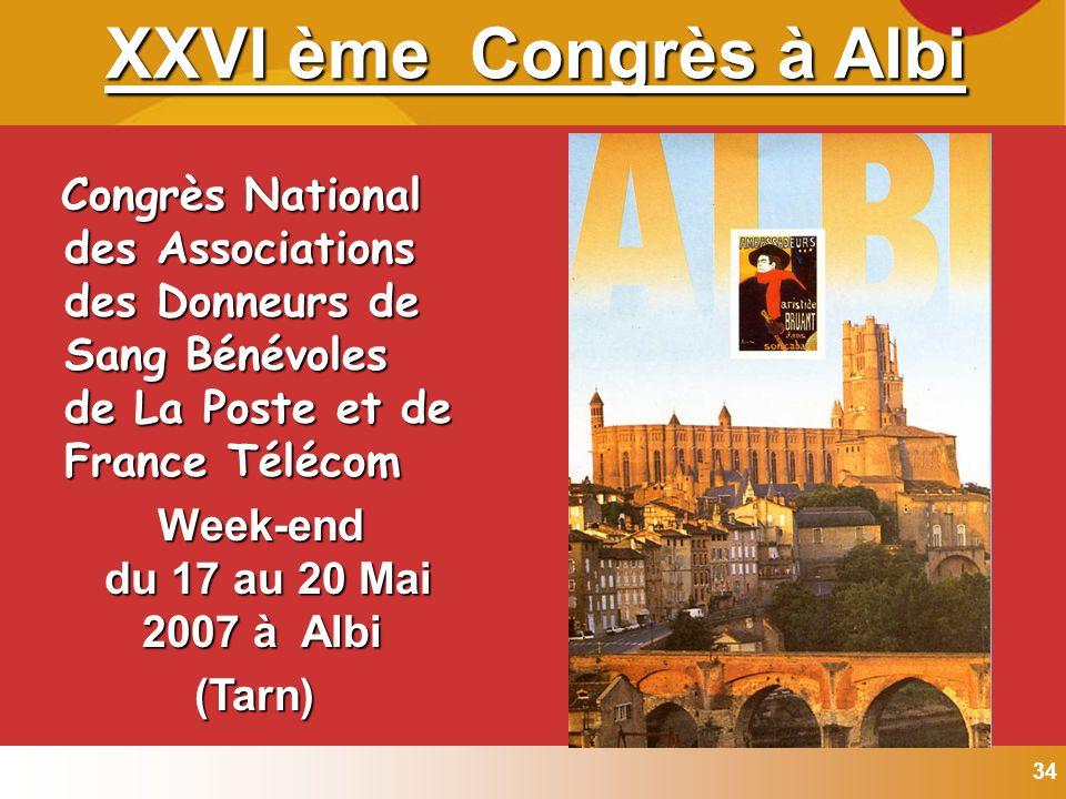 34 Congrès National des Associations des Donneurs de Sang Bénévoles de La Poste et de France Télécom Congrès National des Associations des Donneurs de