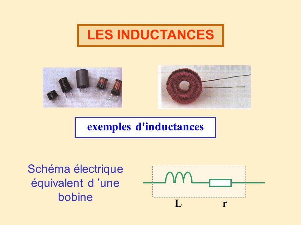 LES INDUCTANCES exemples d inductances L r Schéma électrique équivalent d une bobine