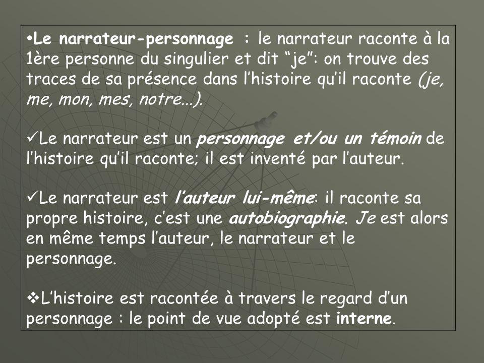 Le narrateur-personnage : le narrateur raconte à la 1ère personne du singulier et dit je: on trouve des traces de sa présence dans lhistoire quil raconte (je, me, mon, mes, notre...).