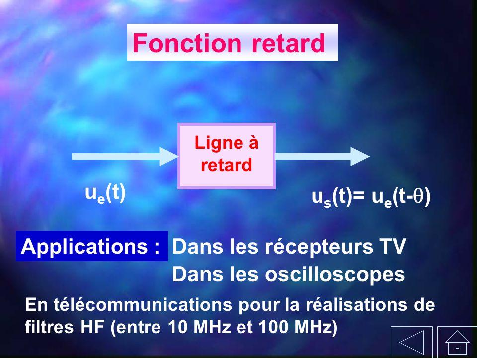 Fonction retard Ligne à retard u e (t) u s (t)= u e (t- ) Applications :Dans les récepteurs TV Dans les oscilloscopes En télécommunications pour la ré