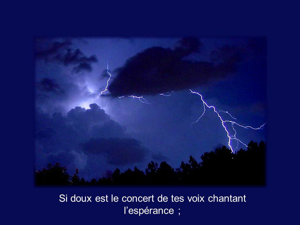 Si doux est le concert de tes voix chantant lespérance ;