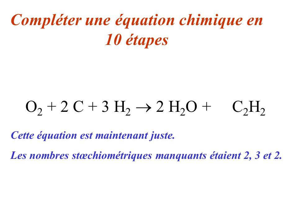O 2 + 2 C + 3 H 2 2 H 2 O + C 2 H 2 Compléter une équation chimique en 10 étapes Cette équation est maintenant juste. Les nombres stœchiométriques man