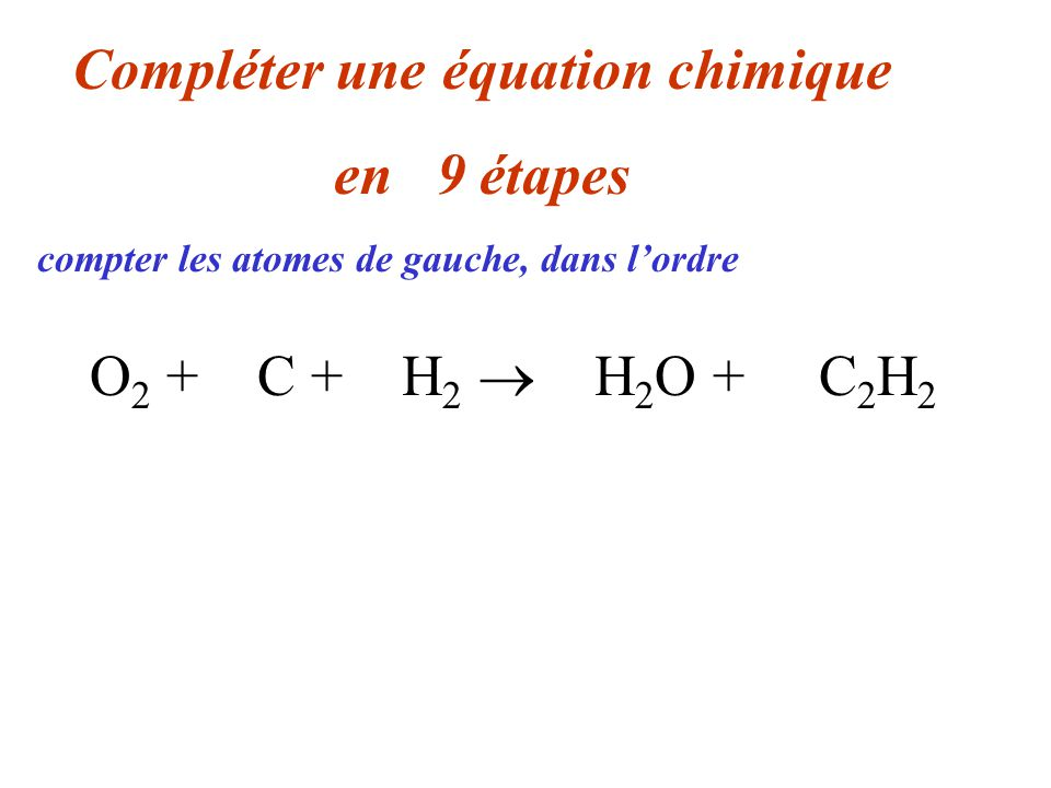 O 2 + 2 C + 3 H 2 2 H 2 O + C 2 H 2 Compléter une équation chimique en 08 étapes 2 O, 1 C, 2 H compter les atomes de gauche, dans lordre