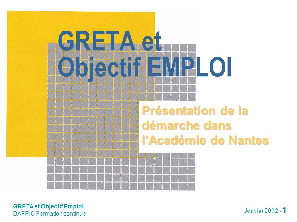 GRETA et Objectif Emploi DAFPIC Formation continue Janvier 2002 - 2 Une démarche académique 1