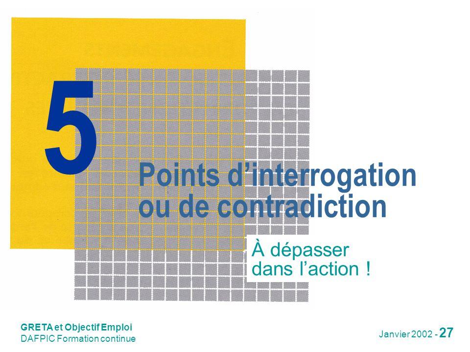 GRETA et Objectif Emploi Janvier 2002 - 28 Points dinterrogation ou de contradiction Quelles solutions .