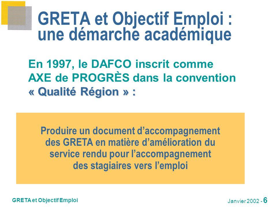 GRETA et Objectif Emploi Janvier 2002 - 7 Chronologie des opérations depuis 1997 1997-98Groupe de travail Elaboration du document « GRETA et Objectif emploi » janv.