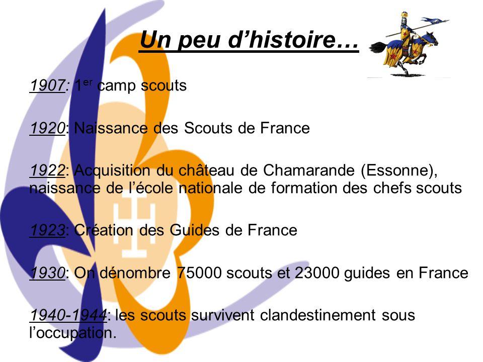 1947: Jamboree de la Paix à Moisson (Yvelines) 25000 scouts/42 pays 1952: Acquisition du château de Jambville 1960-1966: Scission de la branche Rangers en 2 et naissance des scouts et pionniers 1982: Ouverture des Scouts de France aux filles 1985: 1 er Jamboree scouts à Jambville 1991: Création des Scouts musulmans de France et 2 ème Jamboree scouts