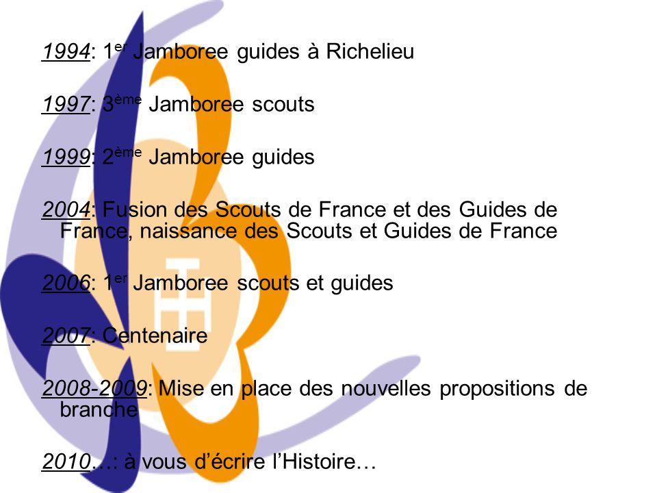 1994: 1 er Jamboree guides à Richelieu 1997: 3 ème Jamboree scouts 1999: 2 ème Jamboree guides 2004: Fusion des Scouts de France et des Guides de Fran