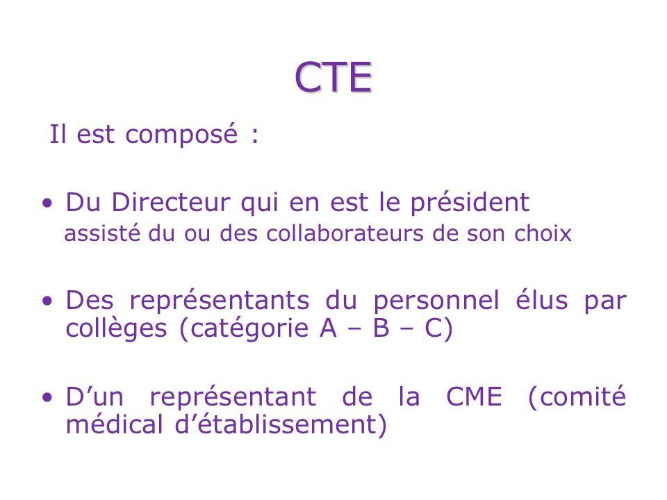 CTE Il est composé : Du Directeur qui en est le président assisté du ou des collaborateurs de son choix Des représentants du personnel élus par collèges (catégorie A – B – C) Dun représentant de la CME (comité médical détablissement)