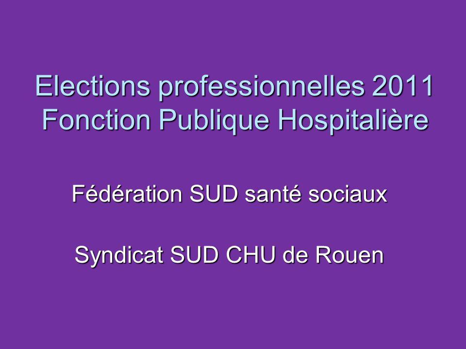 Elections professionnelles 2011 Fonction Publique Hospitalière Fédération SUD santé sociaux Syndicat SUD CHU de Rouen
