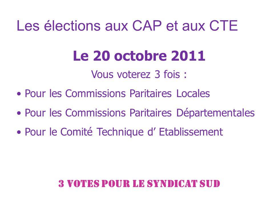 Les élections aux CAP et aux CTE Le 20 octobre 2011 Vous voterez 3 fois : Pour les Commissions Paritaires Locales Pour les Commissions Paritaires Départementales Pour le Comité Technique d Etablissement 3 VOTES pour le syndicat SUD