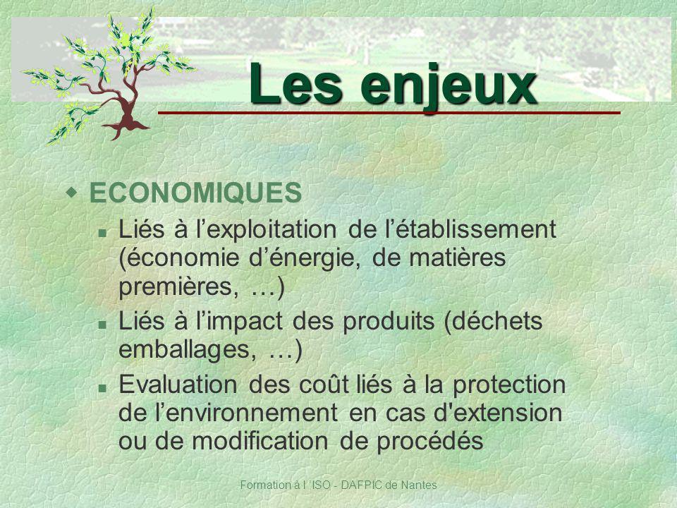 Formation à l ISO - DAFPIC de Nantes wECONOMIQUES Liés à lexploitation de létablissement (économie dénergie, de matières premières, …) Liés à limpact