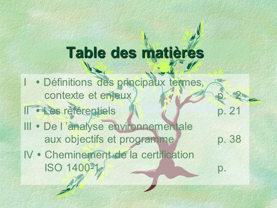 Table des matières I Définitions des principaux termes, contexte et enjeuxp. 2 II Les référentielsp. 21 III De l analyse environnementale aux objectif