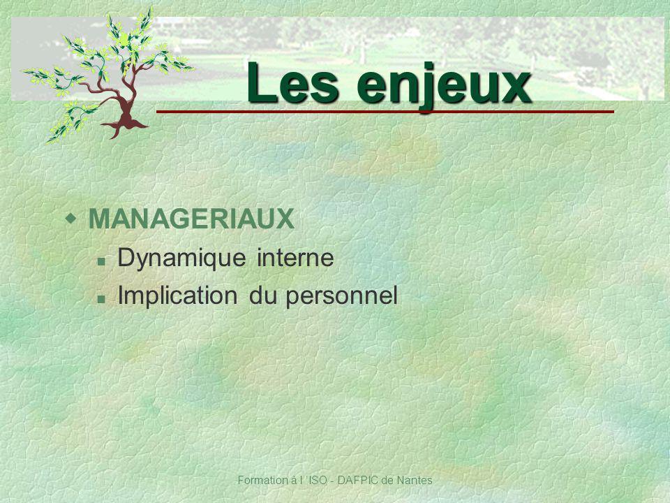 Formation à l ISO - DAFPIC de Nantes wMANAGERIAUX Dynamique interne Implication du personnel Les enjeux