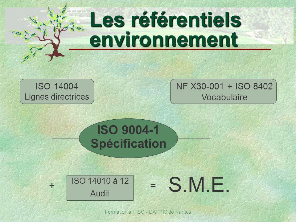 Formation à l ISO - DAFPIC de Nantes Les référentiels environnement ISO 14010 à 12 Audit + S.M.E. ISO 14004 Lignes directrices NF X30-001 + ISO 8402 V