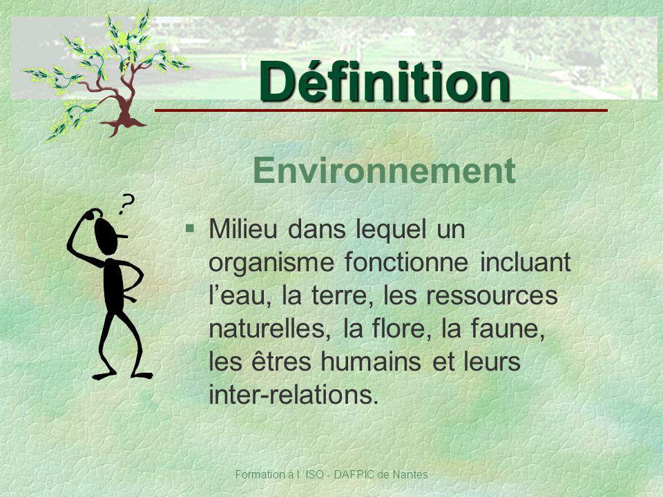 Formation à l ISO - DAFPIC de Nantes Environnement §Milieu dans lequel un organisme fonctionne incluant leau, la terre, les ressources naturelles, la