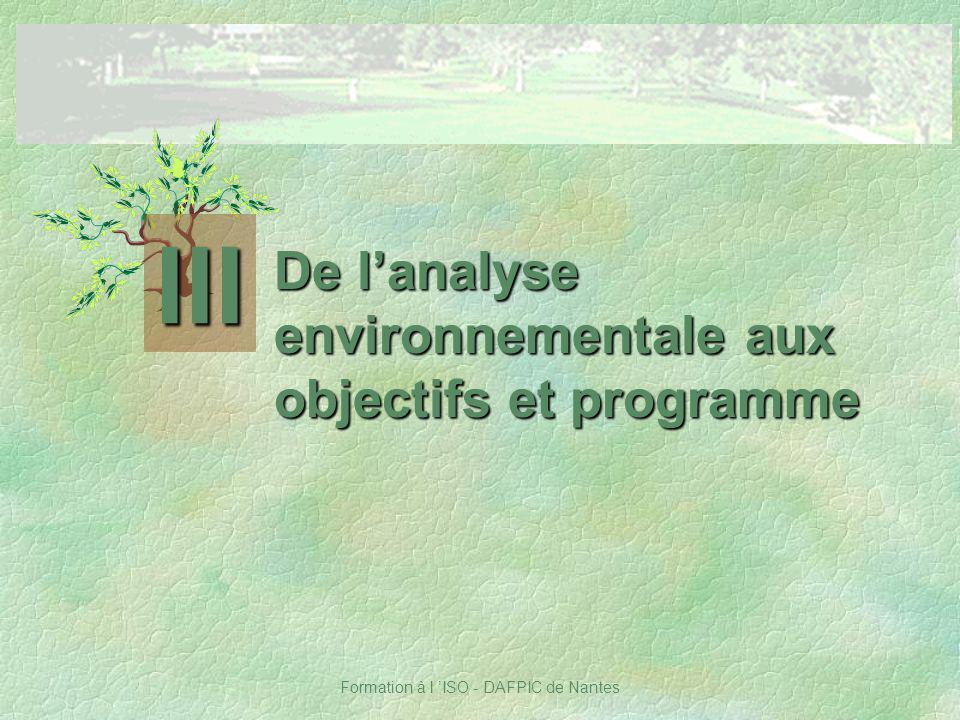 Formation à l ISO - DAFPIC de Nantes De lanalyse environnementale aux objectifs et programme III